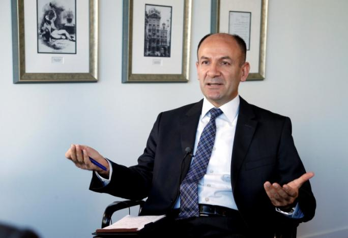 Turkish Brigadier General Yalinalp speaks during an interview with Reuters in Brussels